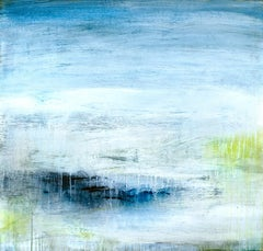 """""""River""""  Luminous abstraction, water reference, shades of blue, white, yellow"""