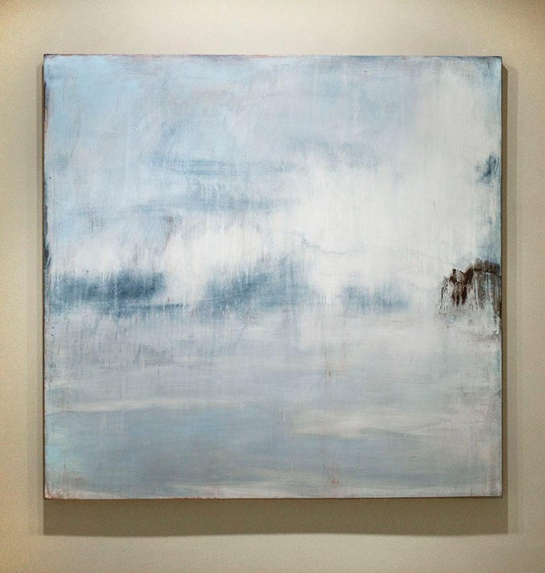 Shimmer: Abstract Light Blue and Pastel Robin's Egg Blue Landscape Painting - Gray Abstract Painting by Shawn Dulaney