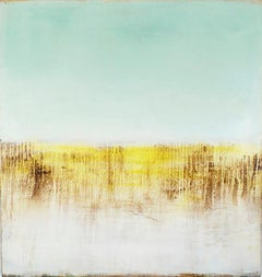 Yellow Row: Abstract Yellow and Pastel Robin's Egg Blue Landscape Painting