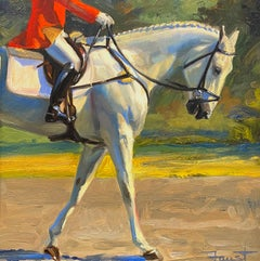 """Shawn Faust, """"20 Buttons"""", Equestrian Oil Painting on Board"""