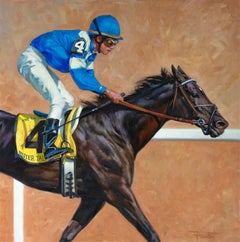 """Shawn Faust, """"Better Talk Now"""", 36x36 Equine Jockey Oil Painting on Canvas"""
