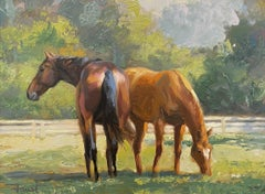 """Shawn Faust, """"Heads or Tails"""" Horse in Pasture Painting on Canvas"""