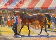 "Shawn Faust, ""Paddock Strut"", Horse Racetrack Oil Painting on Board"