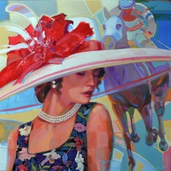 """Shawn Faust, """"Pearl Hat"""", Horse and Woman Mixed Media Painting"""