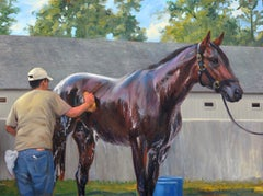 """Shawn Faust, """"Quality Bath"""", Equine Bathing Oil Painting on Canvas"""