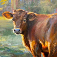 """Shawn Faust, """"The Look Back"""", Cow Portrait Oil Painting"""