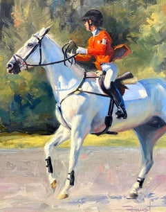 """Shawn Faust, """"Warm Up"""", Equestrian Oil Painting on Canvas"""