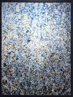 It Dissolved: Abstract Painting in Splatters of Deep Blue, Sienna Orange & Black