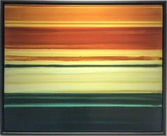 Resonator: Minimalist Abstract Color Field Painting in Yellow, Orange & Green