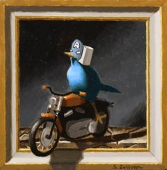 """""""Blue Rider,"""" Oil Painting"""