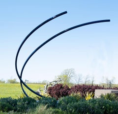 Arc - large scale, blue, geometric abstract, coated steel outdoor sculpture
