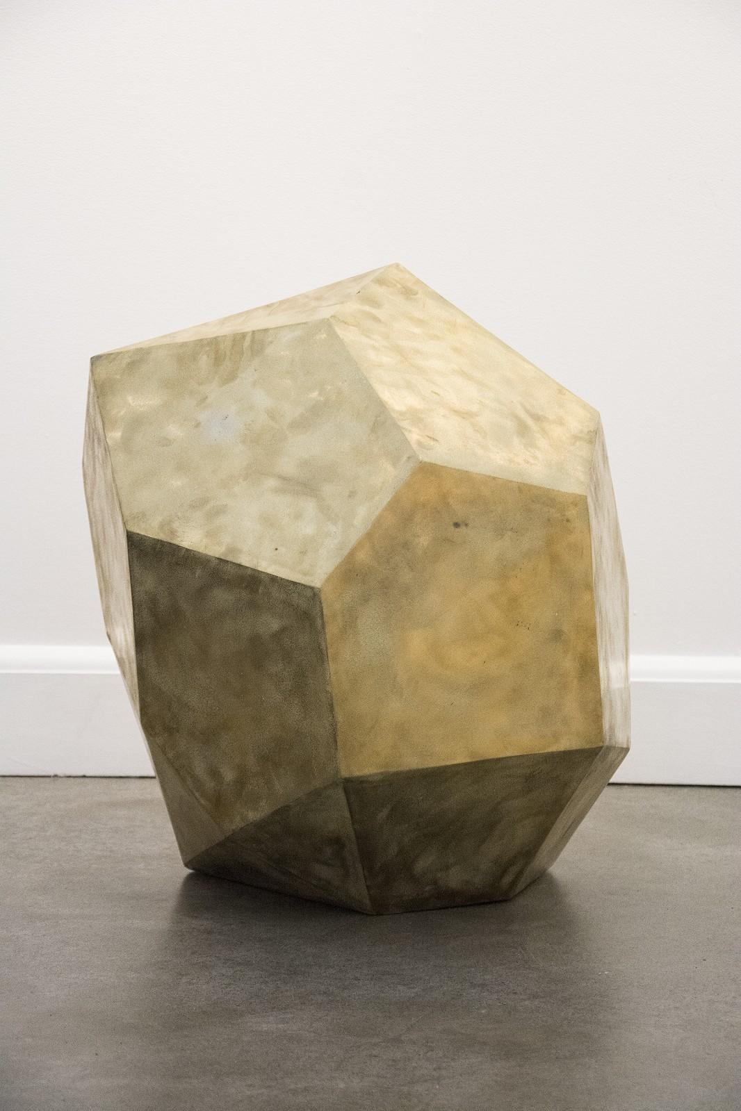 Glacial Series: Dropstone - Polygonal indoor sculpture in steel and bronze
