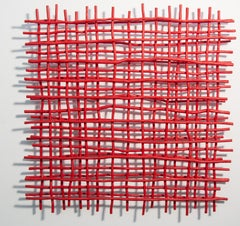 Gridlock Red - A layered grid of intersecting bent aluminum in primary red