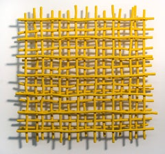 Gridlock Yellow - A layered grid of intersecting bent aluminum in primary yellow