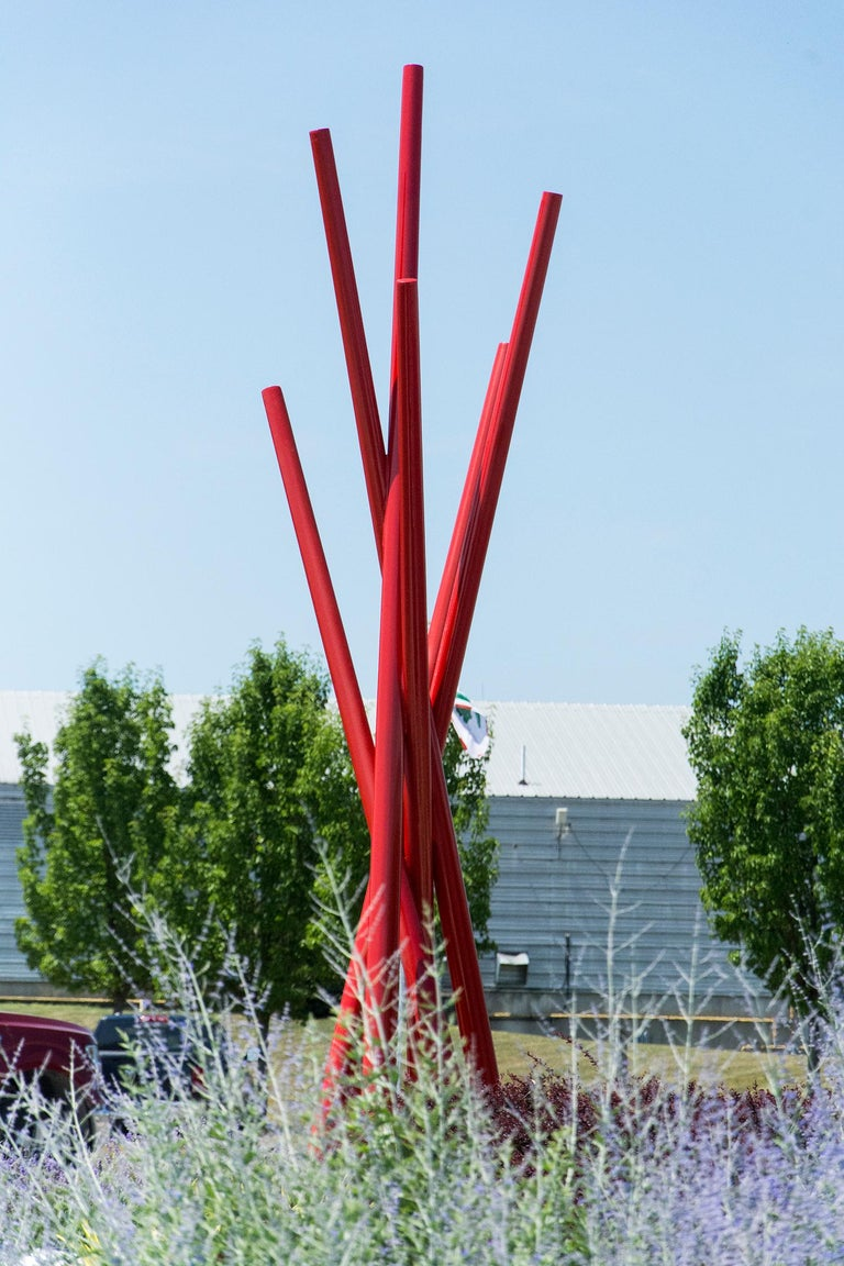 Intersect - Large Abstract Outdoor Sculpture in Vibrant Red - Blue Abstract Sculpture by Shayne Dark