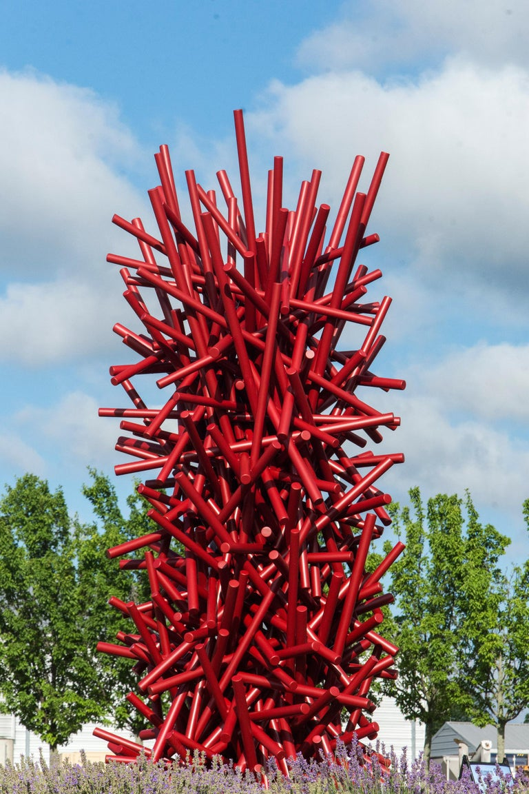Tangled Column - Red - Sculpture by Shayne Dark
