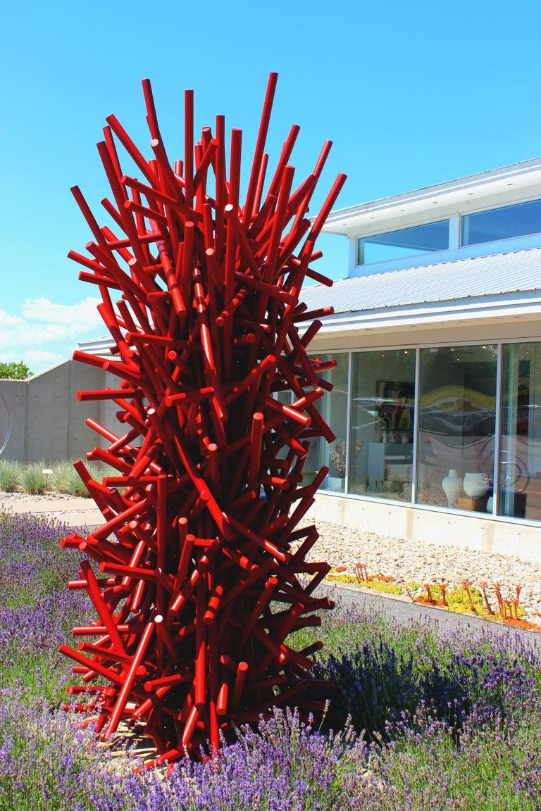 Shayne Dark Abstract Sculpture - Tangled Column - Red