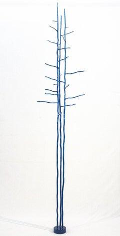 Triad Blue - tall, bright blue, organic industrial, forged steel tree sculpture