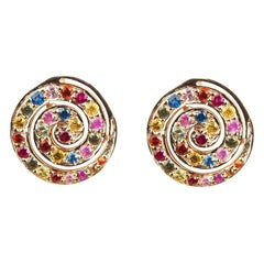 She Bee Multi-Color Sapphire Spiral Earrings