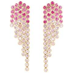 She Bee Pink Sapphire Fringe Earrings