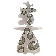 She Sings, pendant enhancer, Melanie Yazzie designs silver Navajo bird fish lady