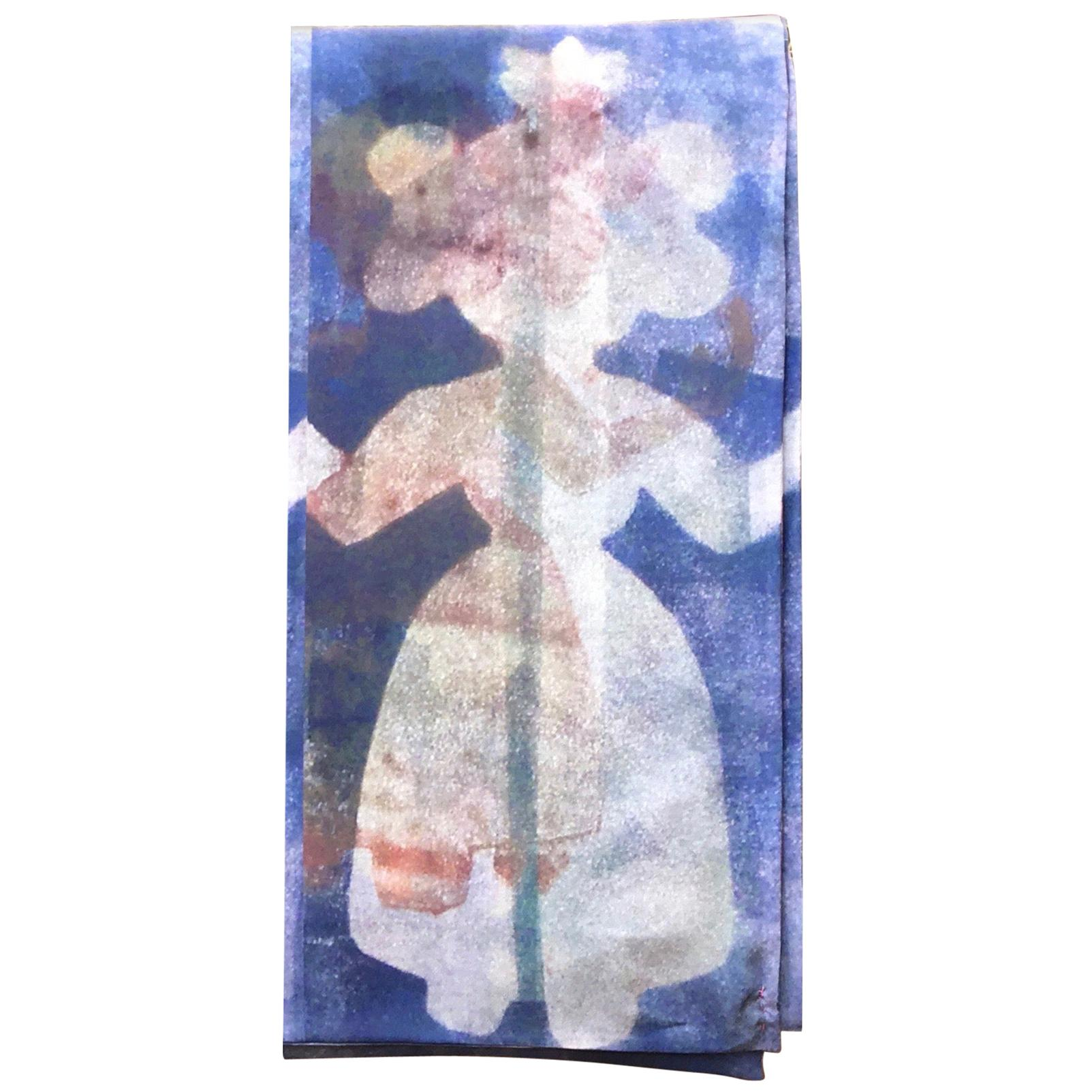 She Stands With Me, scarf, wearable art, blue, white, female, Native American