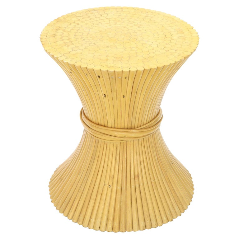 Sheaf Of Bamboo Wheat Round Dining Table Base Mcguire At 1stdibs
