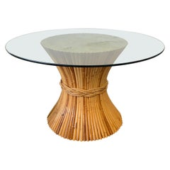Sheaf of Wheat Bamboo Pedestal Dining Table by McGuire