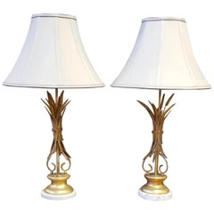 Sheaf of Wheat Hollywood Regency Lamps a Pair