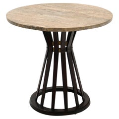 Sheaf of Wheat Side Table by Edward Wormley for Dunbar, Round Travertine Top