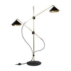 Shear Floor Light, Brass, Black by Bert Frank