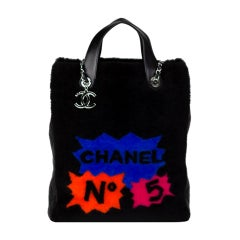 Shearling and quilted Chanel diamond stitch lambskin leather graffiti tote