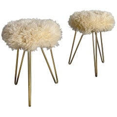 Shearling and Brass Hairpin Legs Fur Stools, 1950s, France