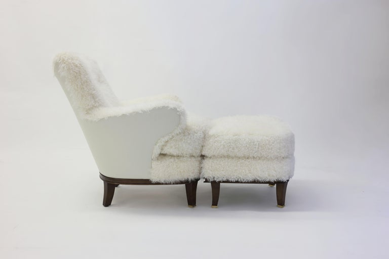 Shearling Covered Shaped Back Chair with Wood Base and Legs with Metal Cap Feet  For Sale 2