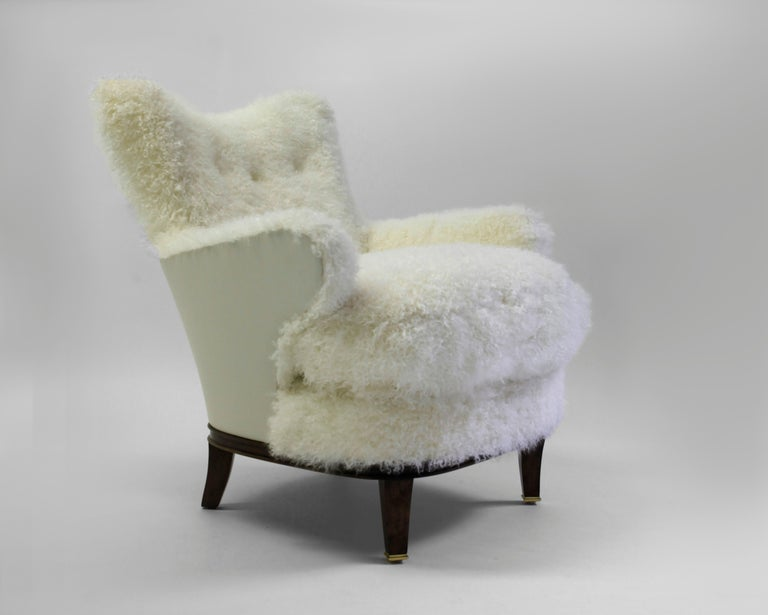 American Classical Shearling Covered Shaped Back Chair with Wood Base and Legs with Metal Cap Feet  For Sale