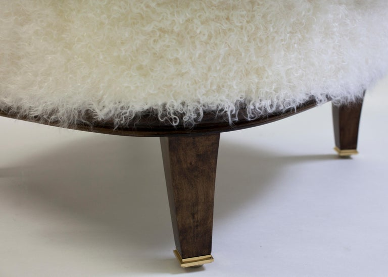 Shearling Covered Shaped Back Chair with Wood Base and Legs with Metal Cap Feet  In New Condition For Sale In Brooklyn, NY