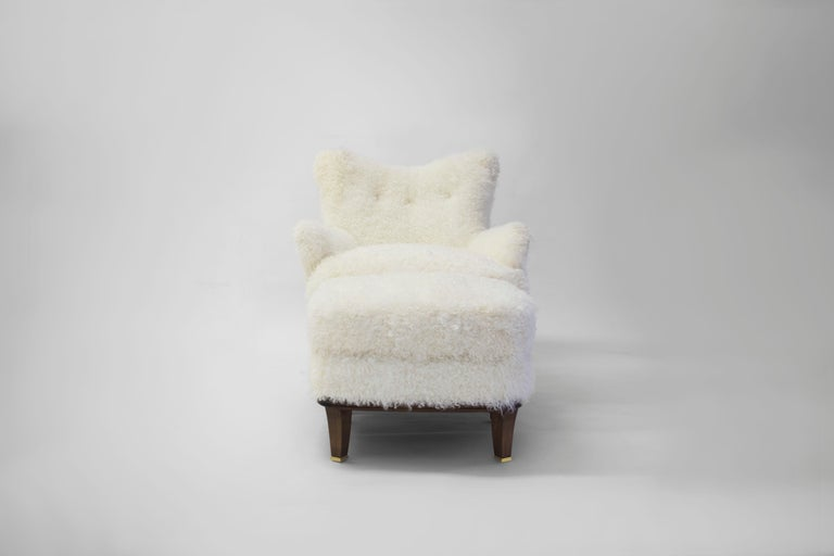 Shearling Covered Shaped Back Chair with Wood Base and Legs with Metal Cap Feet  For Sale 1