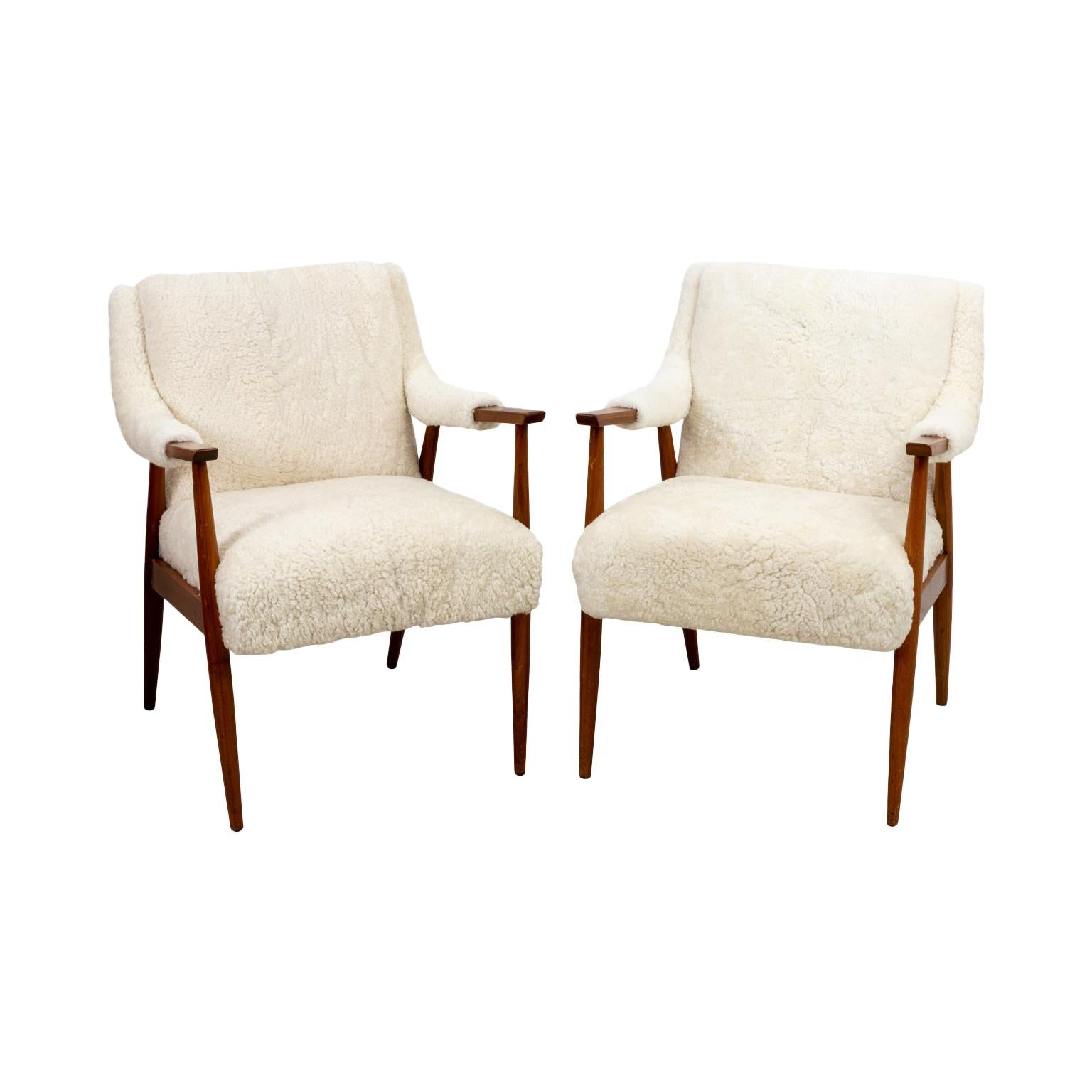 Shearling Danish Modern Chairs