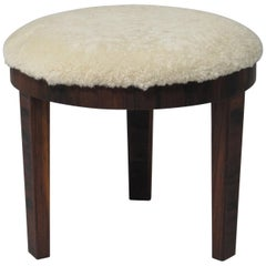 Shearling Rosewood Ottoman