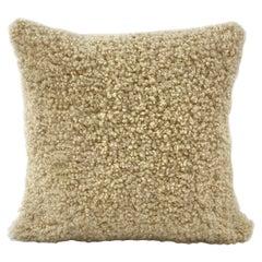"""Shearling Sheepskin Cushion  Dark Linen - 20x20""""/50x50cm"""