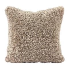 Shearling Sheepskin Pillow, Brown Hazelnut