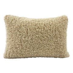 Shearling Sheepskin Pillow, Dark Linen Boucle - 35x50cm