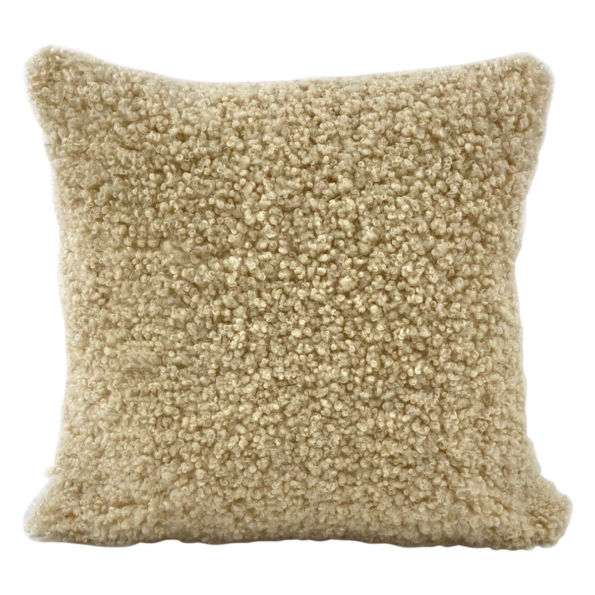 "Shearling Sheepskin Pillow Dark Linen - 18x18"" / 45x45cm"