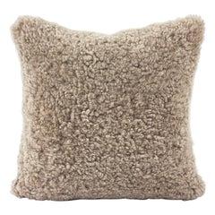 Shearling Sheepskin Pillow, Hazelnut Brown