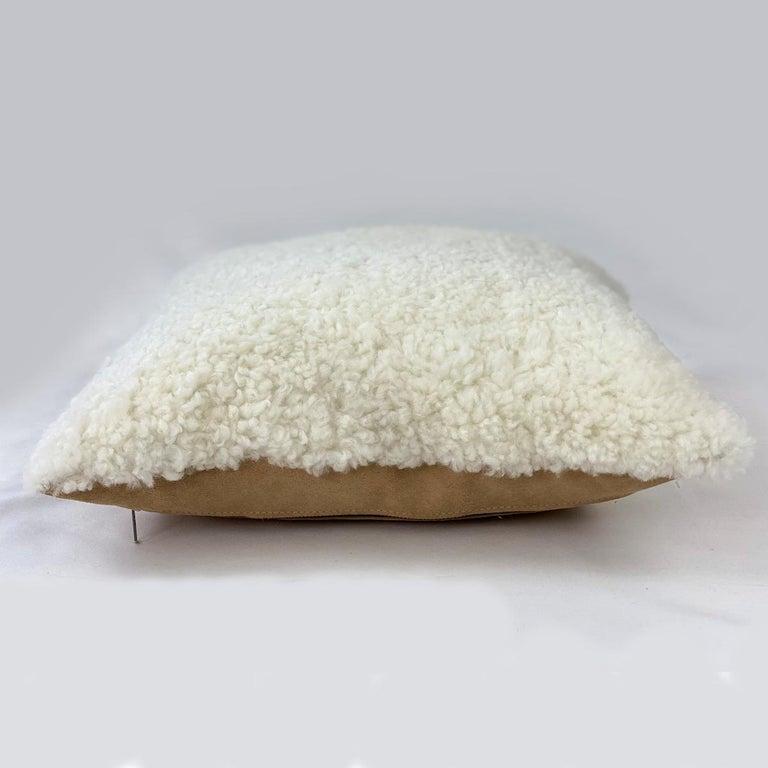 Scandinavian Modern Shearling Pillow, White Sheepskin Square 18x18