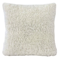 "Shearling Sheepskin Pillow, White Square 16x16"" | 40x40cm"