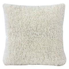 "Shearling Sheepskin Pillow, White 50x50cm | 20x20"""