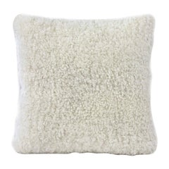 "Shearling Pillow, White Sheepskin Square 18x18"" | 40x40cm"