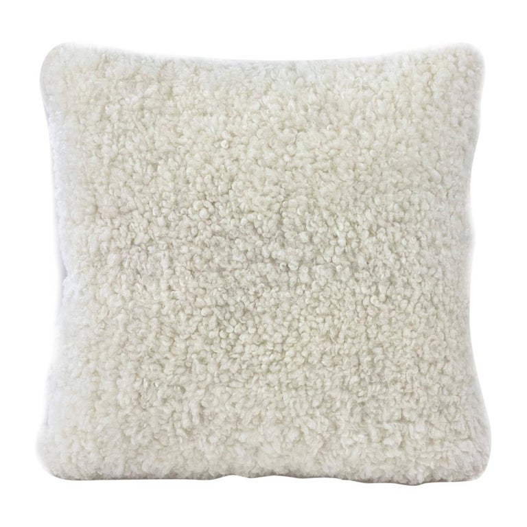 "Shearling Pillow, White Sheepskin Square 18x18"" | 40x40cm  For Sale"