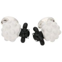Sheep Cufflinks in Enamel and Sterling Silver